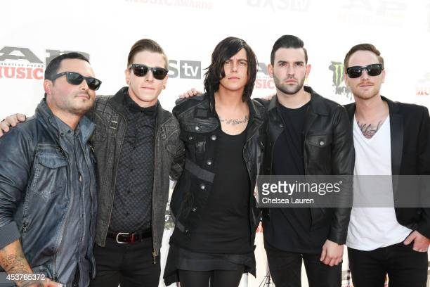 Guitarist Nick Martin bassist Justin Hills vocalist Kellin Quinn guitarist Jack Fowler and drummer Gabe Barham of Sleeping With Sirens attend the...