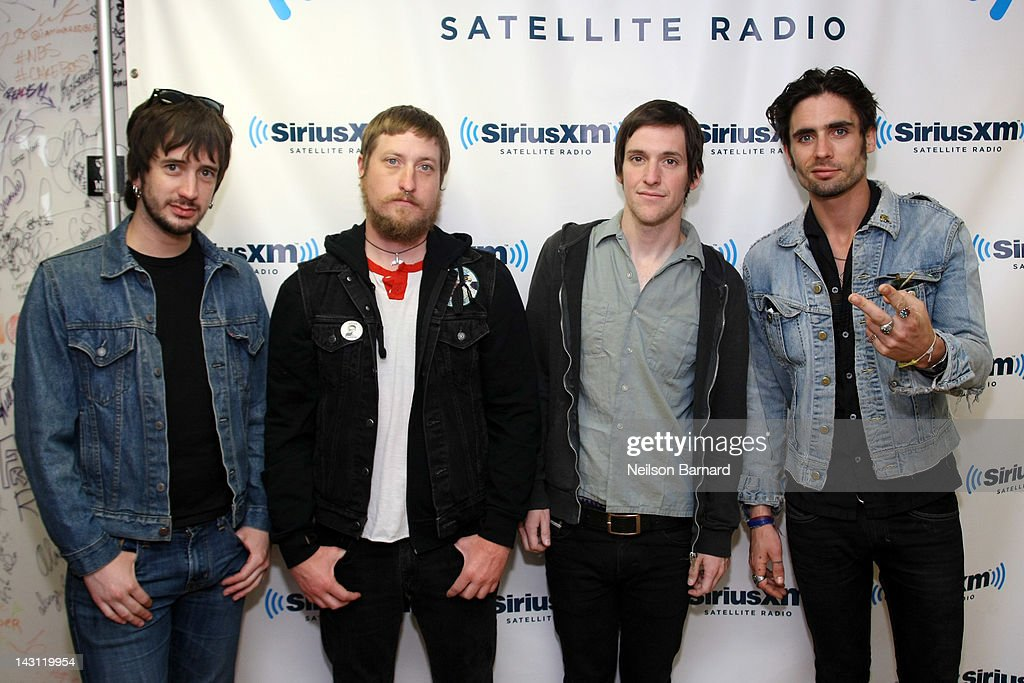 Guitarist Nick Wheeler, percussionist Chris Gaylor, guitarist Mike Kennerty and lead singer Tyson Ritter of The All-American Rejects visit the SiriusXM Studio on April 19, 2012 in New York City.