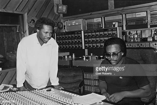 Guitarist Nile Rodgers and bassist Bernard Edwards of American funk and disco band Chic at The Power Station recording studio in Manhattan New York...