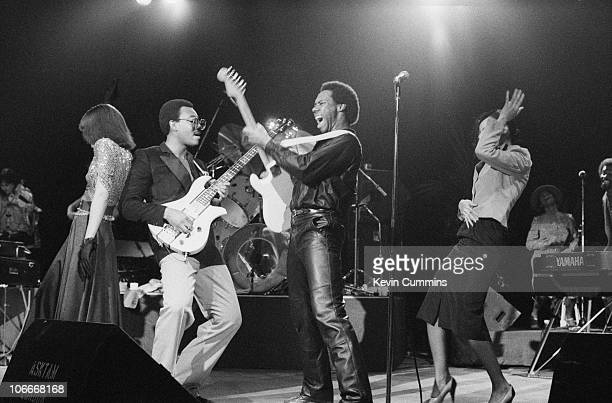Guitarist Nile Rodgers and bassist Bernard Edwards of American RB band Chic perform at the Apollo Manchester 4th October 1979