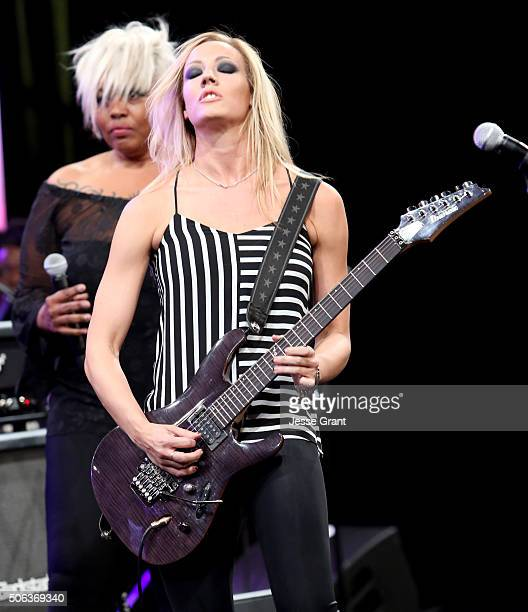 Guitarist Nita Strauss performs on stage at the She Rocks Awards during day 2 of the 2016 NAMM Show at the Anaheim Hilton on January 22 2016 in...