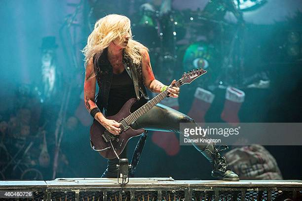 Guitarist Nita Strauss performs on stage during the 14th annual Christmas Pudding Charity concert at Comerica Theatre on December 13, 2014 in...