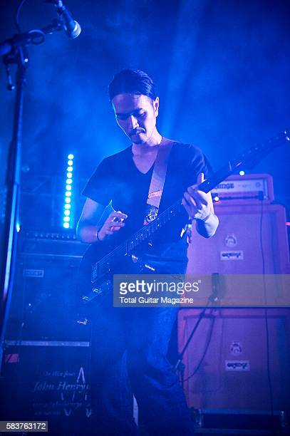Guitarist Nobuyuki Takeda of Japanese instrumental rock group Lite performing live on stage at ArcTanGent Festival in Somerset on August 20 2015