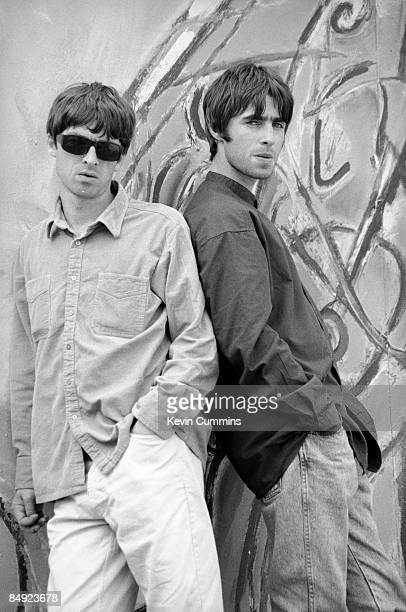 Guitarist Noel Gallagher and his singer brother Liam Gallagher of Manchester rock band Oasis 2nd August 1994