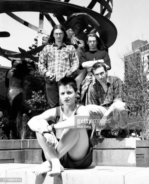 Guitarist Noel Hogan, lead singer Dolores O'Riordan , bassist Michael Hogan and drummer Fergal Lawler of the Irish rock band The Cranberries pose for...