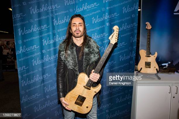 Guitarist Nuno Bettencourt of Extreme introduces his signature Washburn N4 guitar at The NAMM Show 2020 Day 2 at Anaheim Convention Center on January...