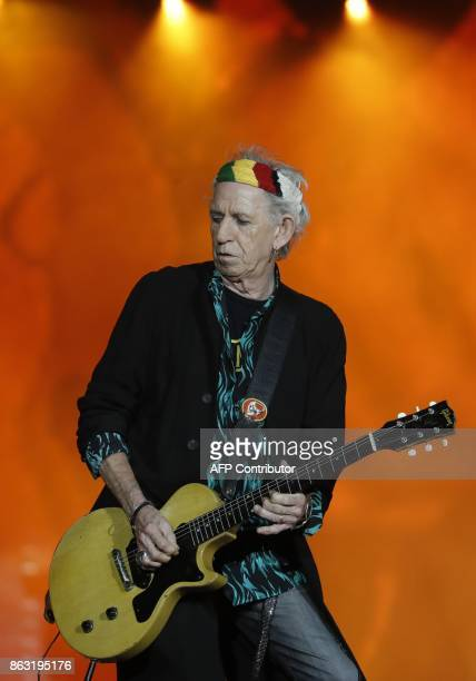 Guitarist of British band the Rolling Stones Keith Richards performs during the inauguration concert of the U Arena hall new stadium of the French...