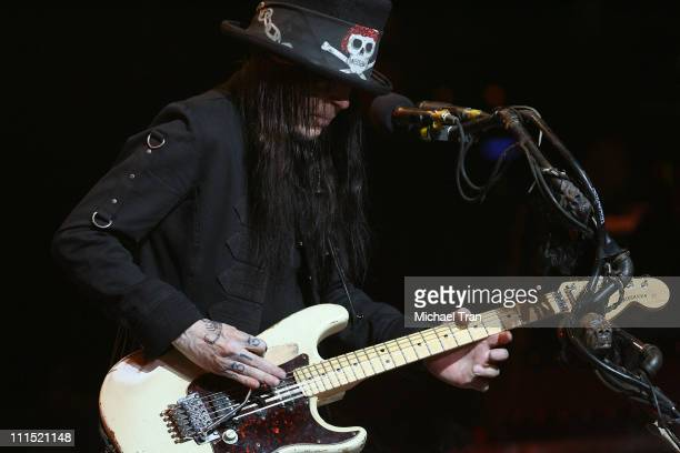Guitarist of Motley Crue Mick Mars performs on stage at the press conference announcing Crue Fest 2008 The Summer's Loudest Show on Earth held at...