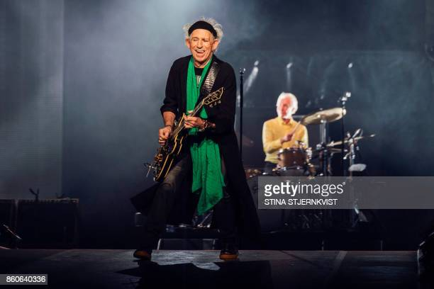 Guitarist of the band The Rolling Stones Keith Richards performs on stage at the Friends Arena in Stockholm Sweden on October 12 2017 News Agency /...