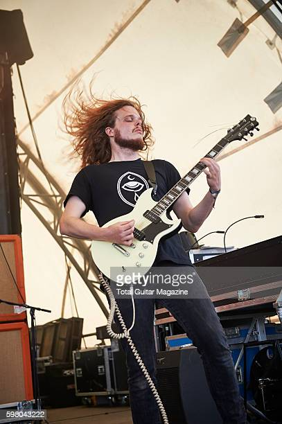 Guitarist Oliver Steels of English postrock group Talons performing live on stage at ArcTanGent Festival in Somerset on August 22 2015