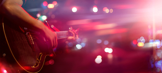 Guitarist on stage for background, soft and blur concept 846216772