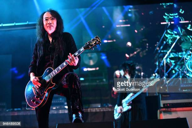 Guitarist Pata of the band X Japan performs on the Sahara stage during week 1 day 2 of the Coachella Valley Music and Arts Festival on April 14 2018...