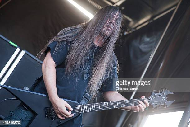 Guitarist Patrick O'Brien of Cannibal Corpse performs at the Rockstar Energy Mayhem Festival on July 5 2014 in San Bernardino California