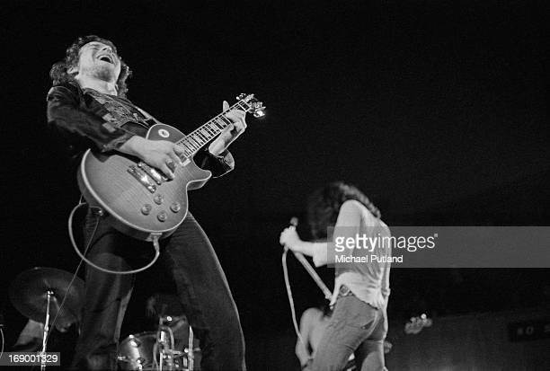 Guitarist Paul Kossoff and singer Paul Rodgers performing with English rock group Free, at Fairfield Halls, Croydon, London, 12th September 1972.