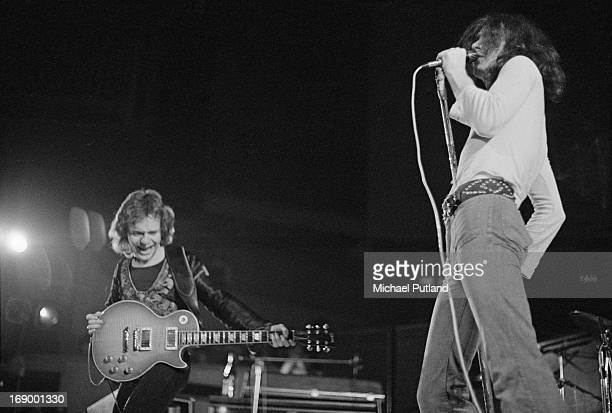 Guitarist Paul Kossoff and singer Paul Rodgers performing with English rock group Free at Fairfield Halls Croydon London 12th September 1972