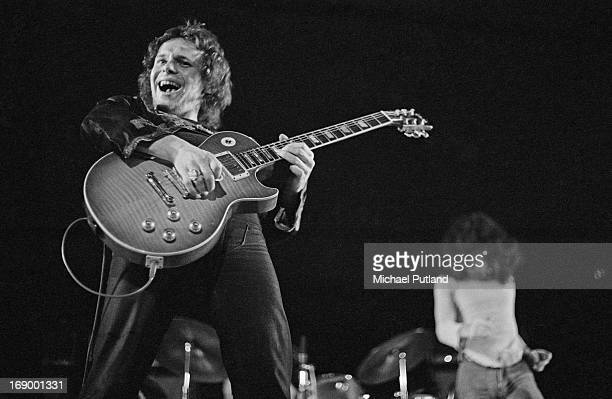 Guitarist Paul Kossoff performing with English rock group Free, at Fairfield Halls, Croydon, London, 12th September 1972. On the right is singer Paul...
