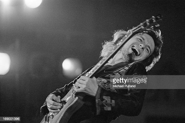 Guitarist Paul Kossoff performing with English rock group Free, at Fairfield Halls, Croydon, London, 12th September 1972.