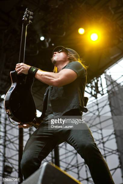 Guitarist Paul Phillips of Puddle of Mudd performs at the Epicenter Rock Festival at Verizon Wireless Amphitheater on September 24 2011 in Irvine...