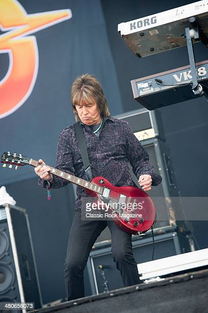 Guitarist Paul Raymond of English hard rock group UFO performing live on the Main Stage at Download Festival on June 15 2013