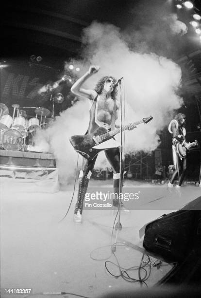 Guitarist Paul Stanley of American heavy metal group Kiss performing at the Cobo Hall Detroit Michigan 16th May 1975 On the right is Ace Frehley The...