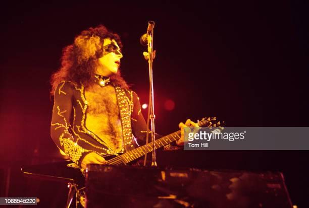 Guitarist Paul Stanley of the band Kiss performs at AtlantaFulton County Stadium on August 29 1976 in Atlanta Georgia