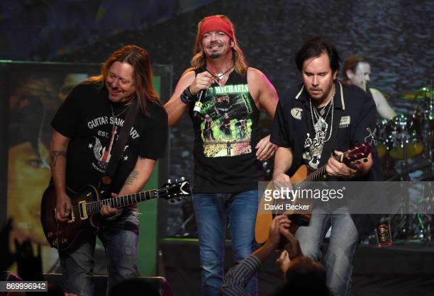 Guitarist Pete Evick recording artist Bret Michaels and bassist Eric Brittingham of the Bret Michaels Band perform at The Joint inside the Hard Rock...