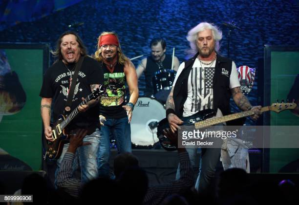Guitarist Pete Evick recording artist Bret Michaels drummer Mike Bailey and bassist Eric Brittingham of the Bret Michaels Band perform at The Joint...
