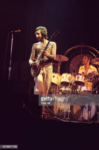 Guitarist Pete Townshend and drummer Keith Moon of The Who perform at Murphy Athletic Center of Middle Tennessee State University on November 261975...