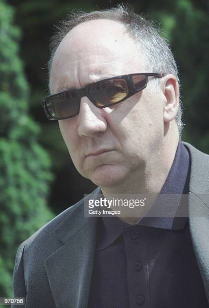 Guitarist Pete Townshend arrives for his funeral service at St Edwards Church July 10 2002 in StowontheWold United Kingdom Entwistle bass player for...