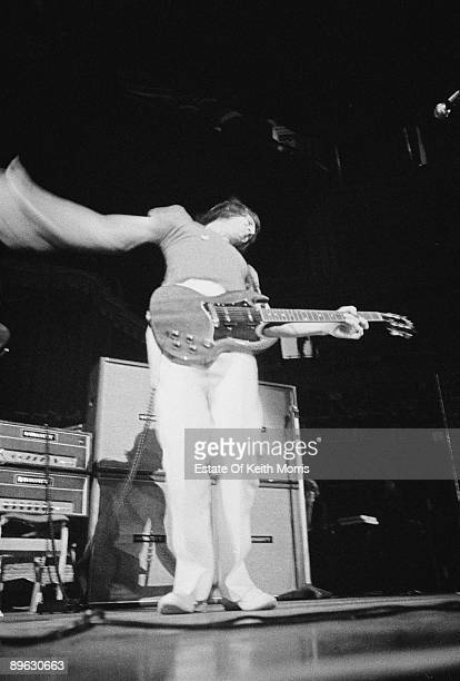 Guitarist Pete Townshend of English rock group The Who playing in his characteristic windmill style London 1969
