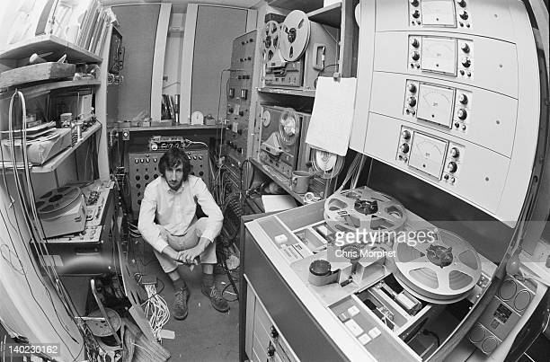 Guitarist Pete Townshend of The Who, in the recording studio at his home in Twickenham, London, 1970.