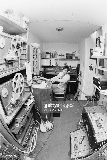 Guitarist Pete Townshend of The Who in the recording studio at his home in Twickenham London 1969 In the foreground is a Danelectro Long Horn bass...