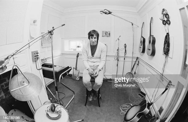 Guitarist Pete Townshend of The Who in the recording studio at his home in Twickenham London 1969 On the left is a Vox Continental Mk II organ