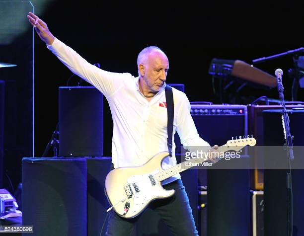 Guitarist Pete Townshend of The Who performs on the first night of the band's residency at The Colosseum at Caesars Palace on July 29, 2017 in Las...