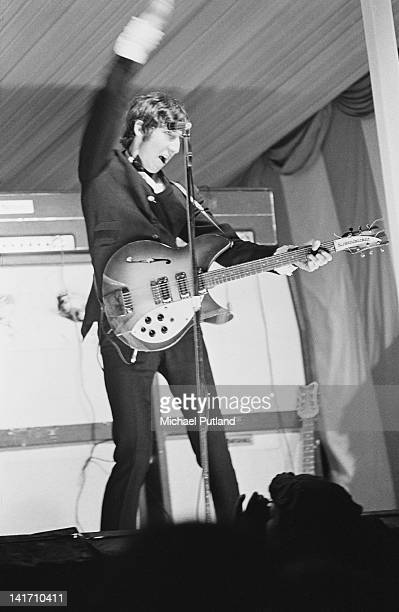 Guitarist Pete Townshend of The Who playing in his characteristic windmill style at the Windsor National Jazz and Blues Festival UK 30th July 1966