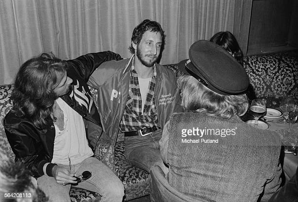 Guitarist Pete Townshend of The Who with Glenn Frey and Joe Walsh of American rock group The Eagles at a party given by the American band 26th April...