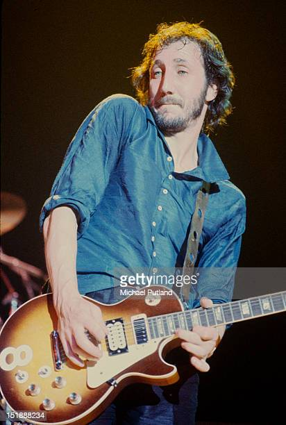 Guitarist Pete Townshend performing with English rock group The Who USA September 1979 He plays his Gibson Les Paul Deluxe guitar number 8