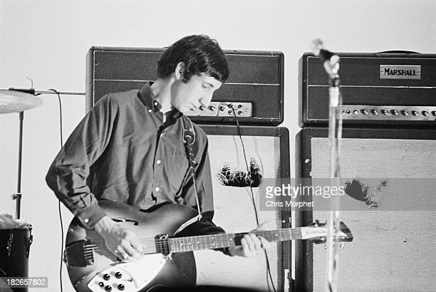 Guitarist Pete Townshend performing with English rock group The Who, in Felixstowe, Suffolk, 9th September 1966.