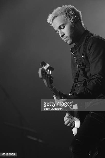 Guitarist Pete Wentz of Fall Out Boy performs onstage at The Forum on December 13, 2015 in Inglewood, California.