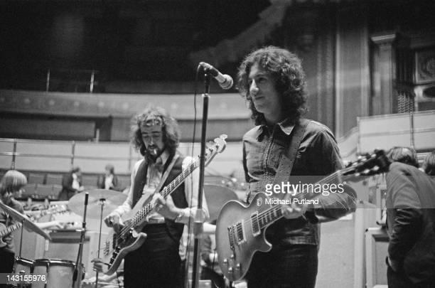 Guitarist Peter Green and bassist John McVie of British rock group Fleetwood Mac rehearsing at the Royal Albert Hall London 22nd April 1969