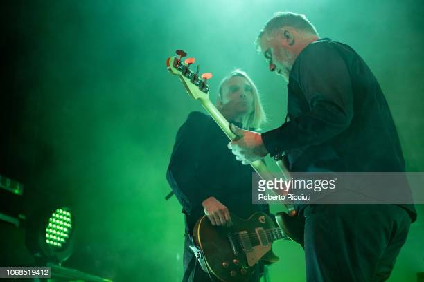 Guitarist Peter Svensson and bassist Magnus Sveningsson of The Cardigans perform on stage at O2 Academy Glasgow on December 4, 2018 in Glasgow,...