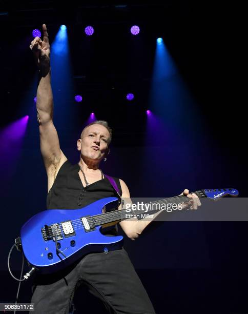 Guitarist Phil Collen performs as part of the G3 concert tour at Brooklyn Bowl Las Vegas at The Linq Promenade on January 17 2018 in Las Vegas Nevada