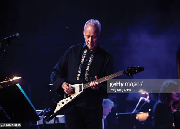 Guitarist Phil Manzanera performing live on stage with Andy Mackay at Queen Elizabeth Hall in London on November 22 2018