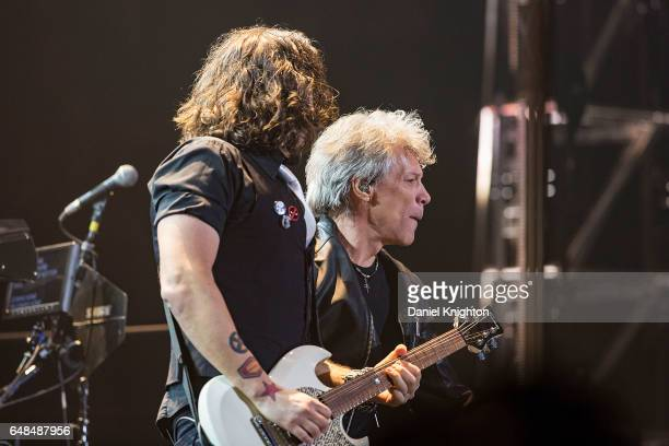 Guitarist Phil X and Jon Bon Jovi of Bon Jovi perform on stage during the 'This House Is Not For Sale' Tour at Viejas Arena on March 5 2017 in San...