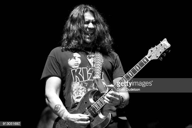 Guitarist Phil X of the band Bon Jovi performs onstage with Kings of Chaos at the Adopt the Arts annual rock gala at Avalon Hollywood on January 31...