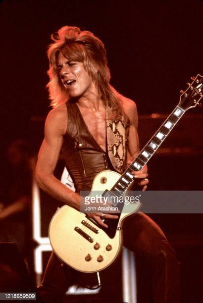 Guitarist Randy Rhoads is shown performing on stage during a live concert appearance with the Blizzard of Ozz on August 26 1981