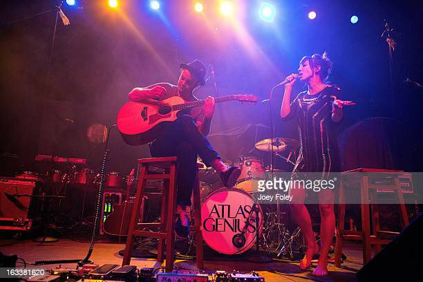 Guitarist Rich Koehler and vocalist Aja Volkman of Nico Vega performs at the Egyptian Room at Old National Centre on February 28 2013 in Indianapolis...