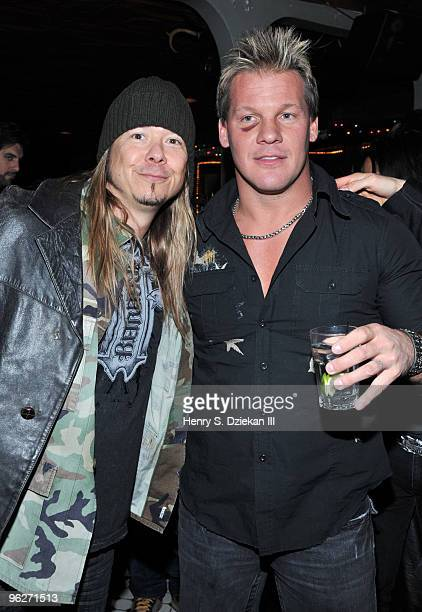 Guitarist Rich Ward and Professional Wrestler/Musician Chris Jericho of the band Fozzy attend the Fozzy's 'Chasing The Grail' album release party at...