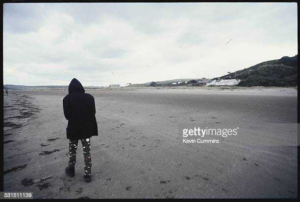 Guitarist Richey James Edwards of Welsh alternative rock group the Manic Street Preachers on the beach at Swansea south Wales 19th August 1994