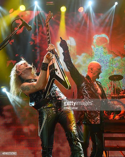 Guitarist Richie Faulkner and singer Rob Halford of Judas Priest perform at The Pearl concert theater at the Palms Casino Resort as the band tours in...